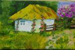 мальви біля хати, олія полотно. Василевський В. 13 років. викладач Луценко Н.М. Бабанська ДМШ